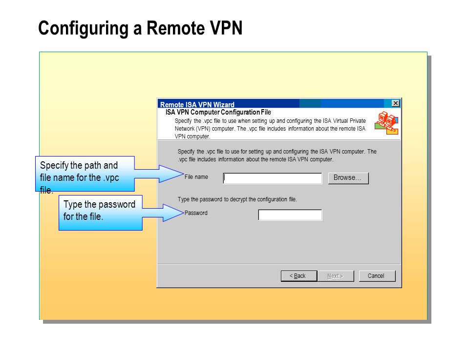 Configuring a Remote VPN Remote ISA VPN Wizard ISA VPN Computer Configuration File Specify the.vpc file to use when setting up and configuring the ISA Virtual Private Network (VPN) computer.