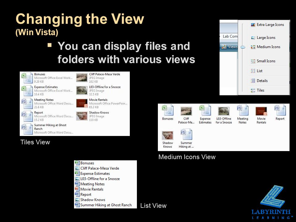 Changing the View (Win Vista)  You can display files and folders with various views Tiles View Medium Icons View List View
