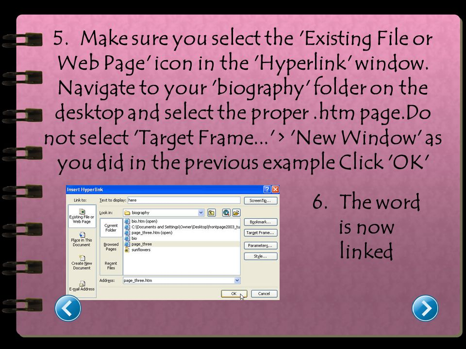 5. Make sure you select the Existing File or Web Page icon in the Hyperlink window.