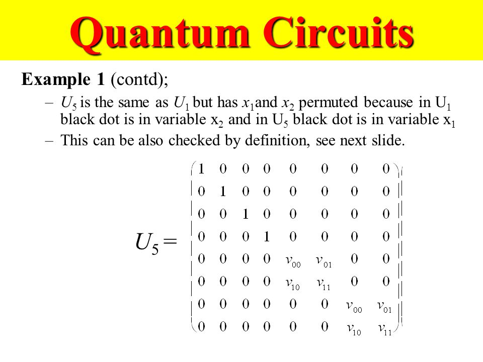 Quantum Circuits Example 1 (contd); –U 5 is the same as U 1 but has x 1 and x 2 permuted because in U 1 black dot is in variable x 2 and in U 5 black dot is in variable x 1 –This can be also checked by definition, see next slide.