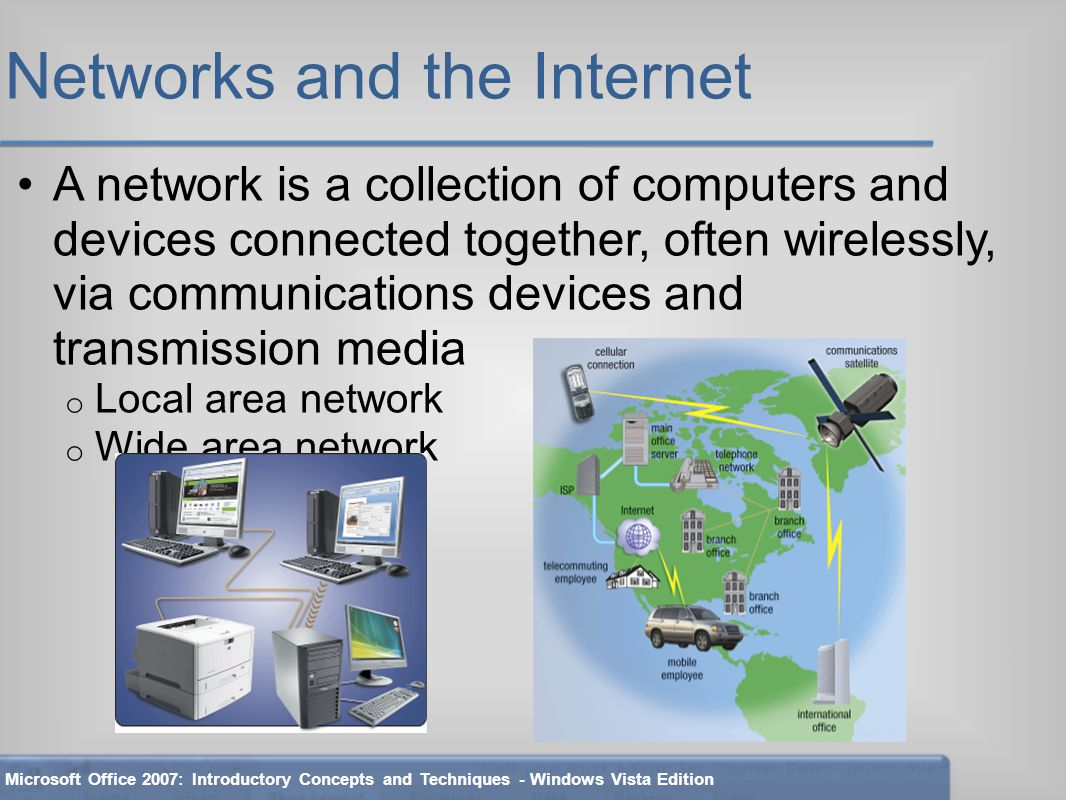 Networks and the Internet A network is a collection of computers and devices connected together, often wirelessly, via communications devices and transmission media o Local area network o Wide area network Microsoft Office 2007: Introductory Concepts and Techniques - Windows Vista Edition