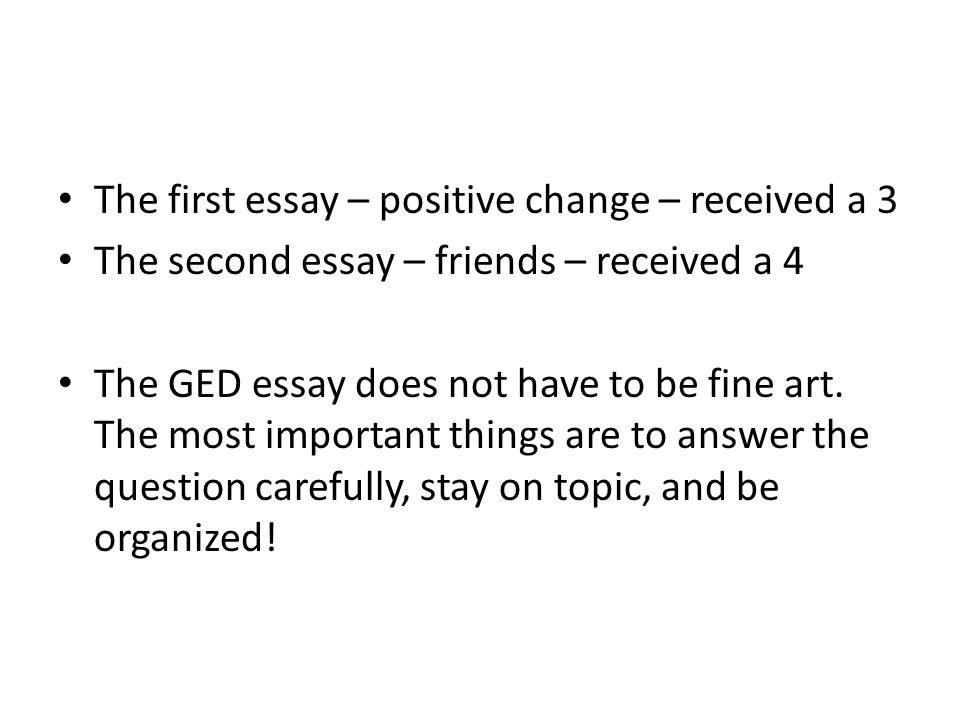 Please grade and feedback on GED essay?