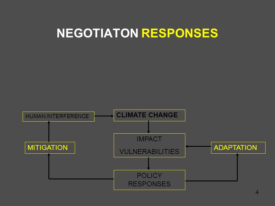 4 NEGOTIATON RESPONSES MITIGATION CLIMATE CHANGE ADAPTATION IMPACT VULNERABILITIES POLICY RESPONSES HUMAN INTERFERENCE