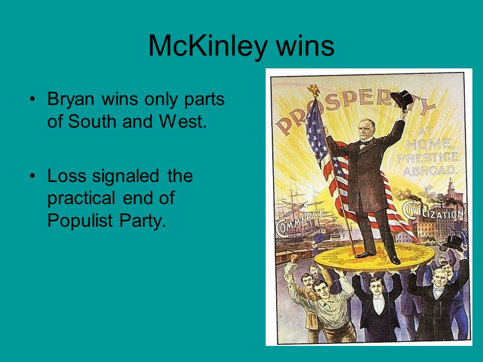 McKinley wins Bryan wins only parts of South and West.