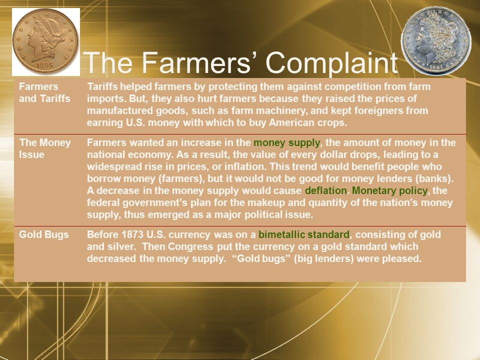The Farmers' Complaint Tariffs helped farmers by protecting them against competition from farm imports.