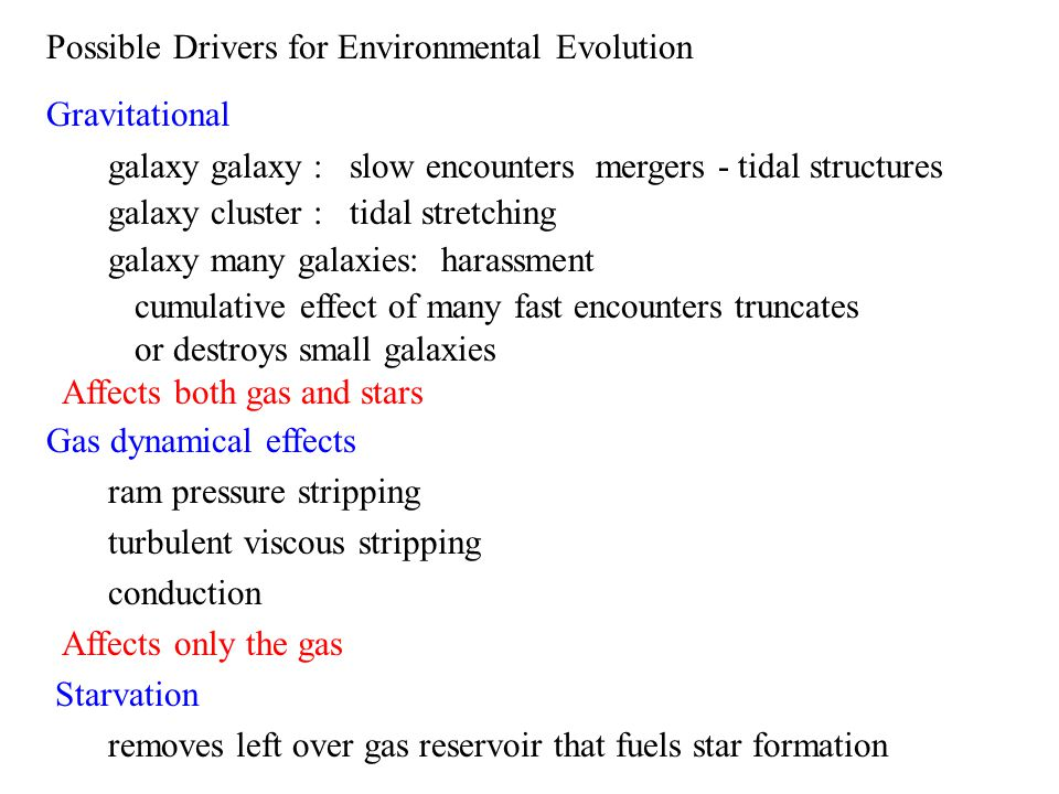 Possible Drivers for Environmental Evolution Gravitational galaxy galaxy : slow encounters mergers - tidal structures galaxy cluster : tidal stretching galaxy many galaxies: harassment cumulative effect of many fast encounters truncates or destroys small galaxies Affects both gas and stars Gas dynamical effects ram pressure stripping turbulent viscous stripping conduction Affects only the gas Starvation removes left over gas reservoir that fuels star formation