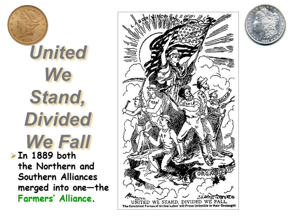 The Farmers Alliances  Begun in the late 1880s (Texas first  the Southern Alliance; then in the Midwest  the Northern Alliance).