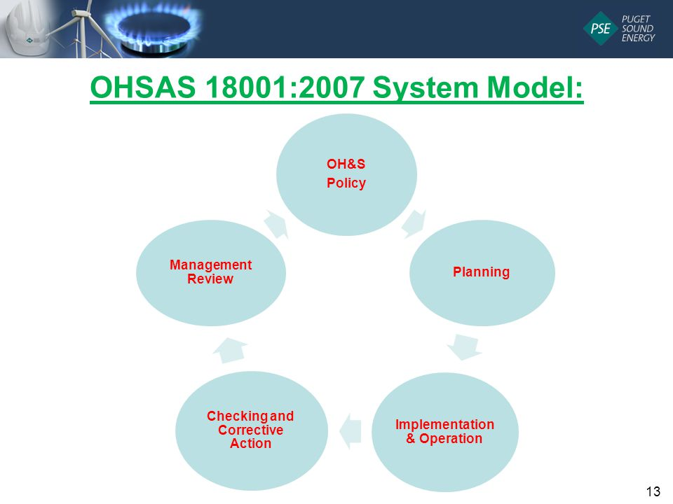 OHSAS 18001:2007 System Model: OH&S Policy Planning Implementation & Operation Checking and Corrective Action Management Review 13