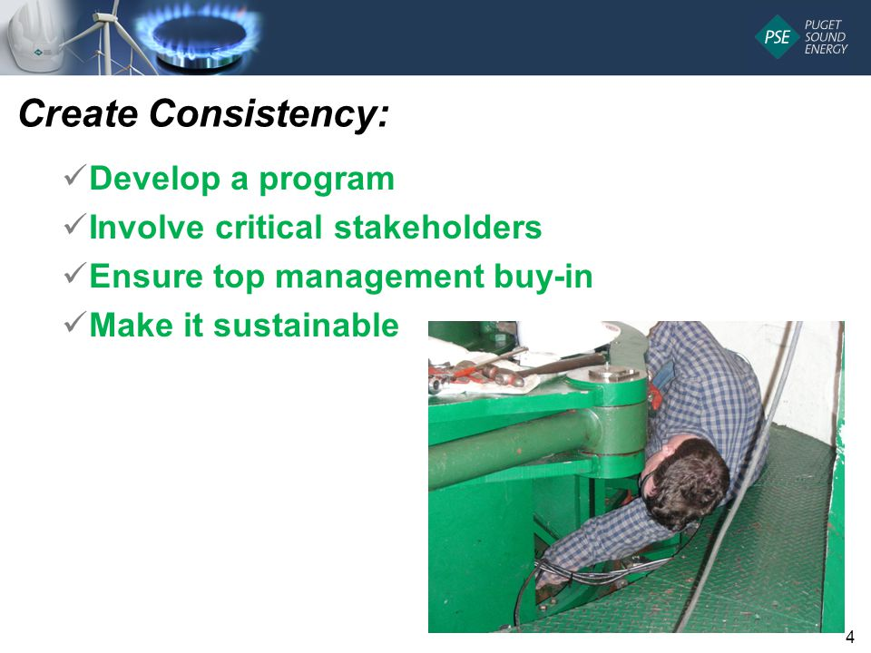 Create Consistency: Develop a program Involve critical stakeholders Ensure top management buy-in Make it sustainable 4