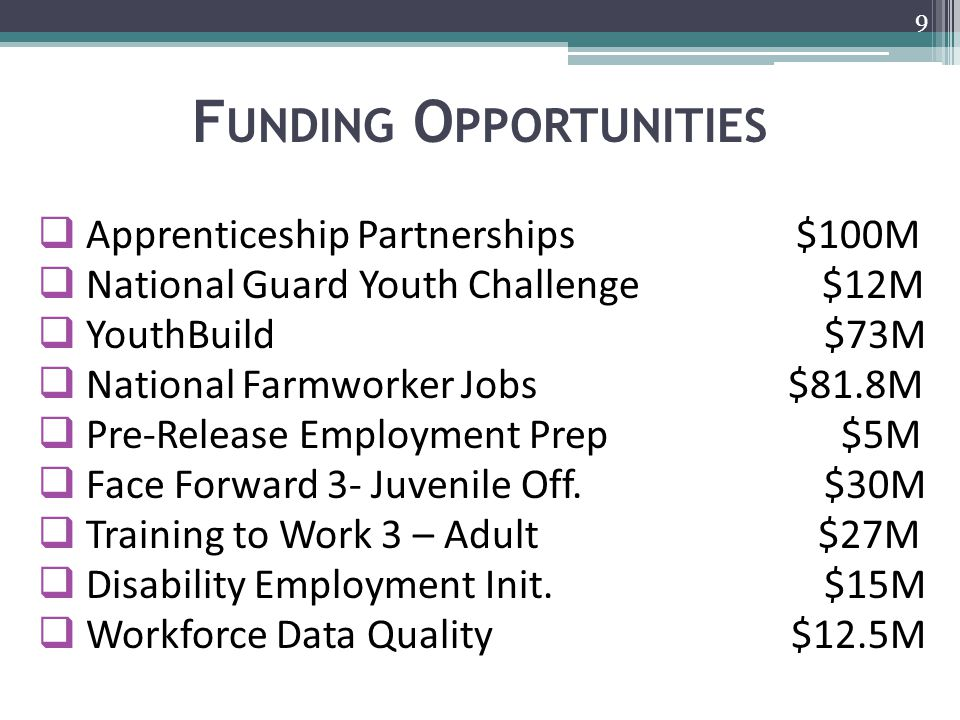 F UNDING O PPORTUNITIES  Apprenticeship Partnerships $100M  National Guard Youth Challenge $12M  YouthBuild $73M  National Farmworker Jobs $81.8M  Pre-Release Employment Prep $5M  Face Forward 3- Juvenile Off.
