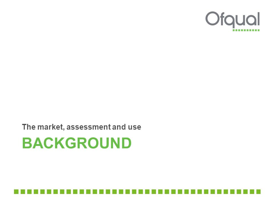 BACKGROUND The market, assessment and use