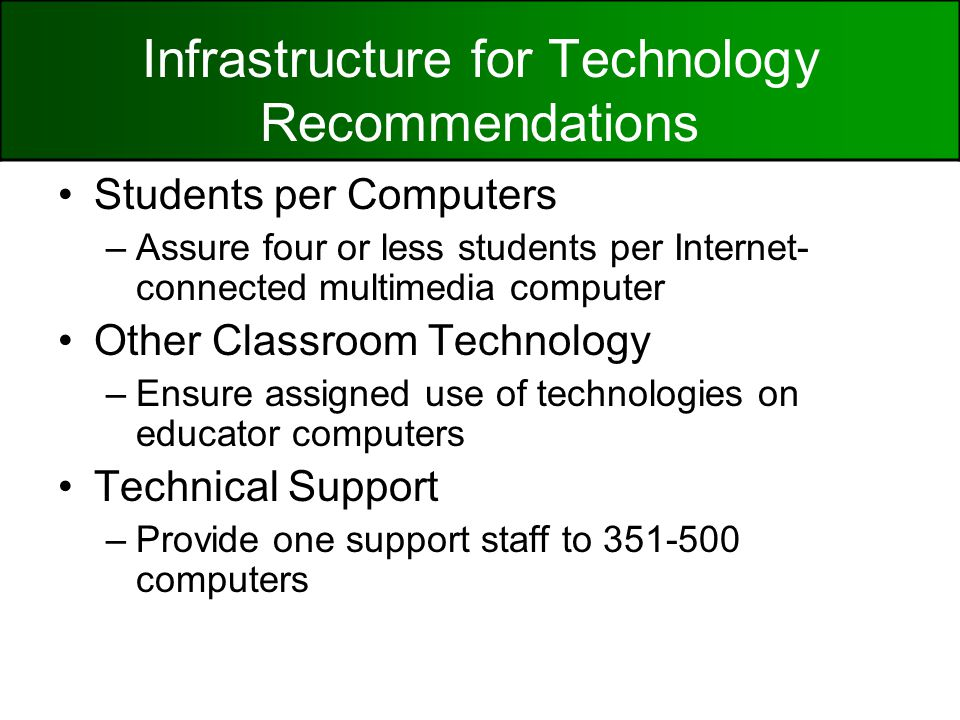 Infrastructure for Technology Recommendations Students per Computers –Assure four or less students per Internet- connected multimedia computer Other Classroom Technology –Ensure assigned use of technologies on educator computers Technical Support –Provide one support staff to computers