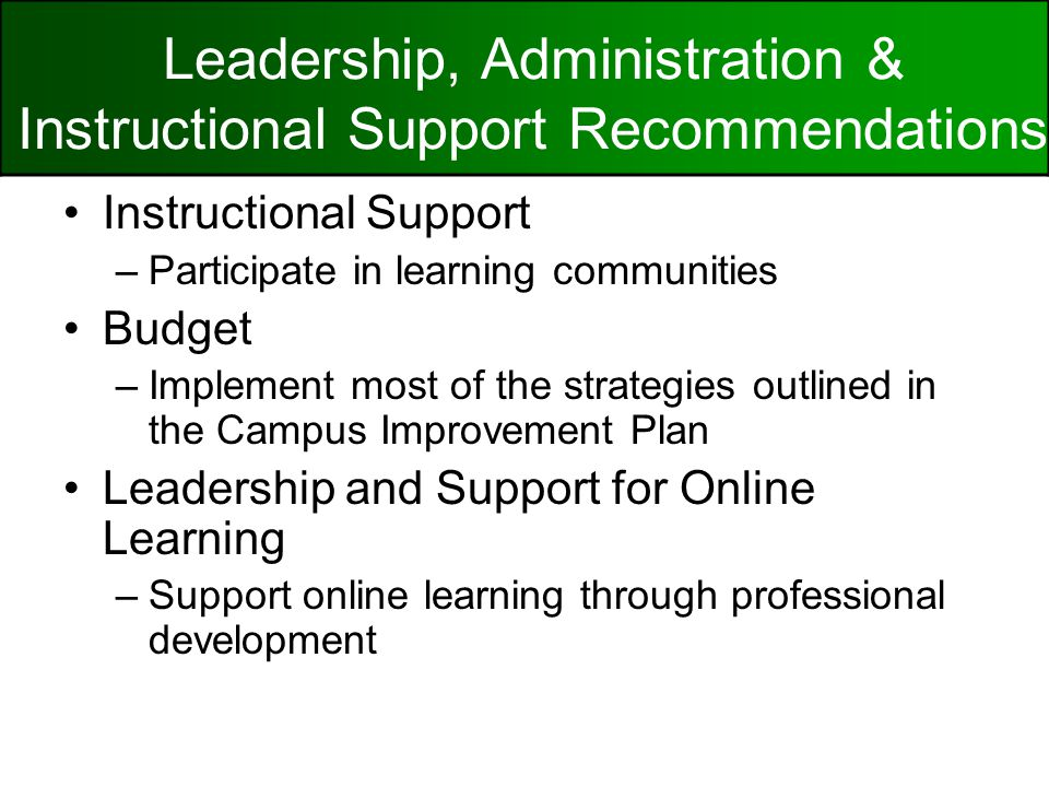 Instructional Support –Participate in learning communities Budget –Implement most of the strategies outlined in the Campus Improvement Plan Leadership and Support for Online Learning –Support online learning through professional development Leadership, Administration & Instructional Support Recommendations