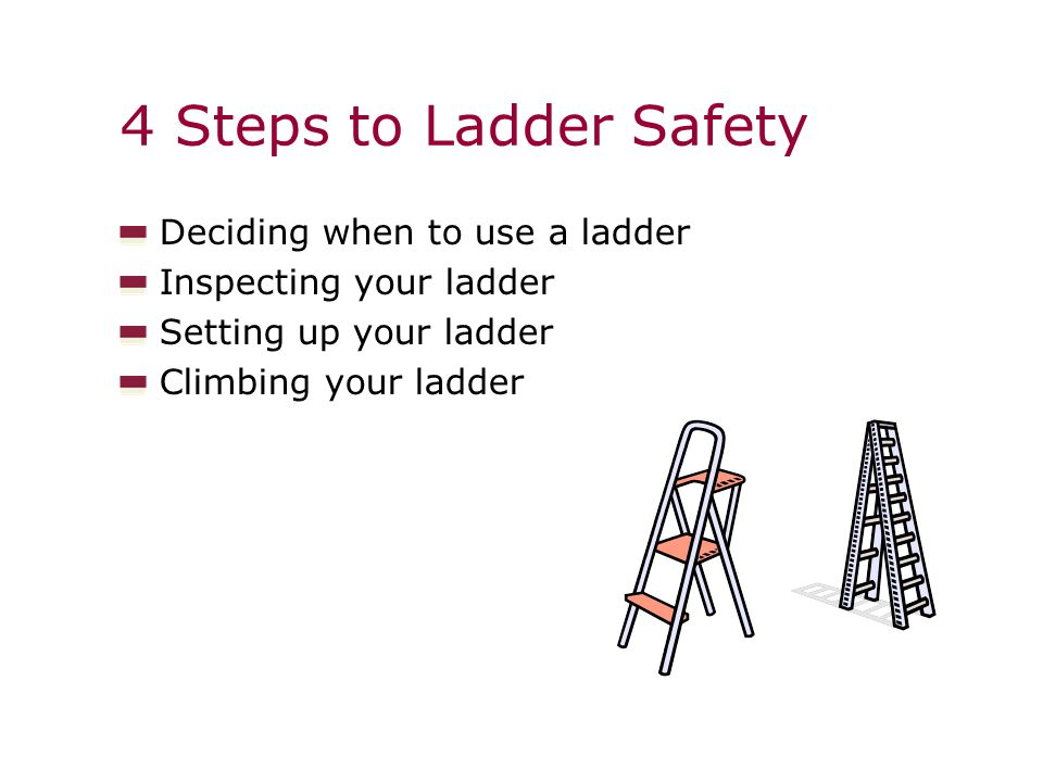 Deciding when to use a ladder Inspecting your ladder Setting up your ladder Climbing your ladder