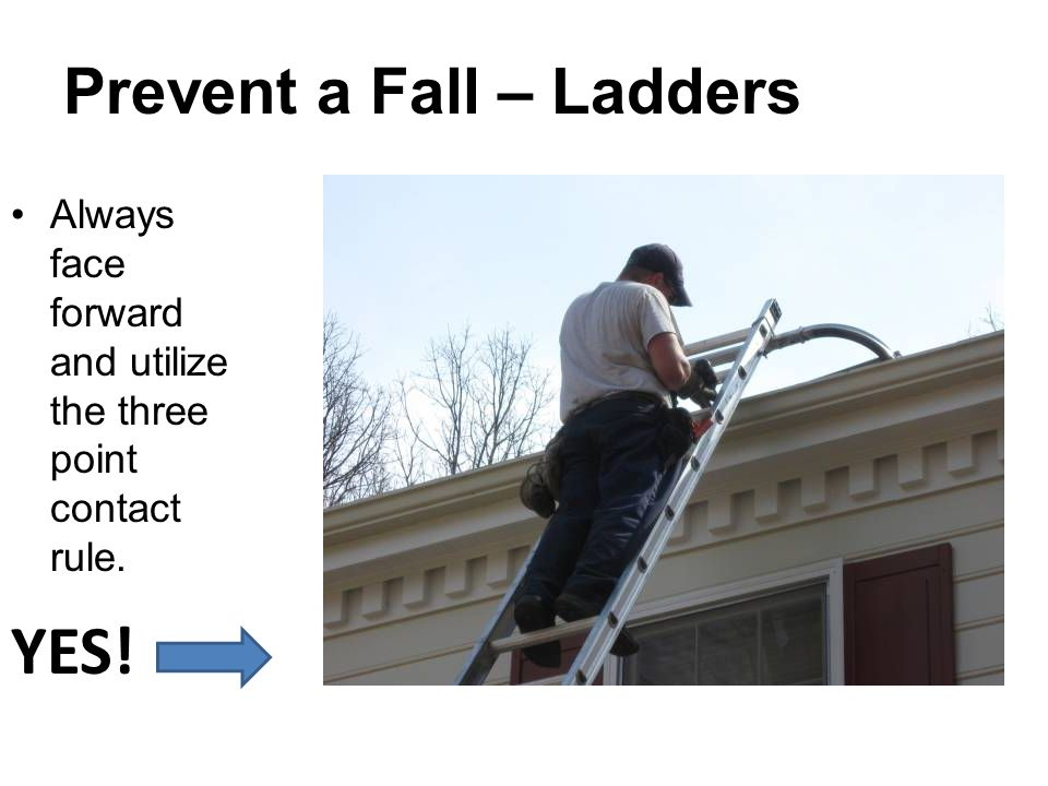 Prevent a Fall – Ladders Always face forward and utilize the three point contact rule. YES!