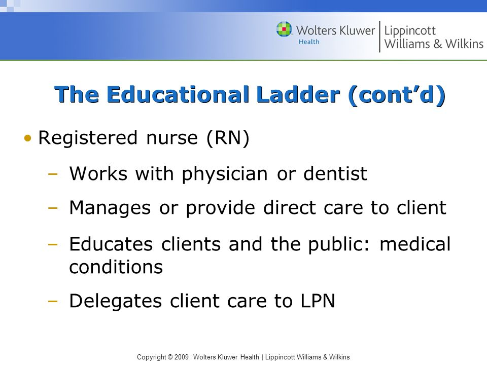 Copyright © 2009 Wolters Kluwer Health | Lippincott Williams & Wilkins The Educational Ladder (cont'd) Registered nurse (RN) –Works with physician or dentist –Manages or provide direct care to client –Educates clients and the public: medical conditions –Delegates client care to LPN