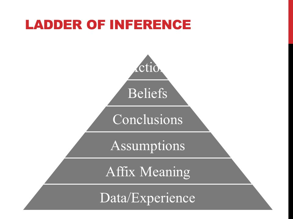 LADDER OF INFERENCE Action Beliefs Conclusions Assumptions Affix Meaning Data/Experience