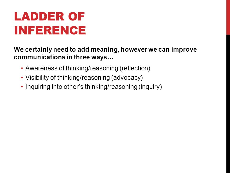 LADDER OF INFERENCE We certainly need to add meaning, however we can improve communications in three ways… Awareness of thinking/reasoning (reflection) Visibility of thinking/reasoning (advocacy) Inquiring into other's thinking/reasoning (inquiry)