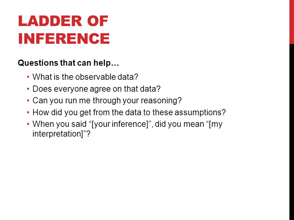 LADDER OF INFERENCE Questions that can help… What is the observable data.