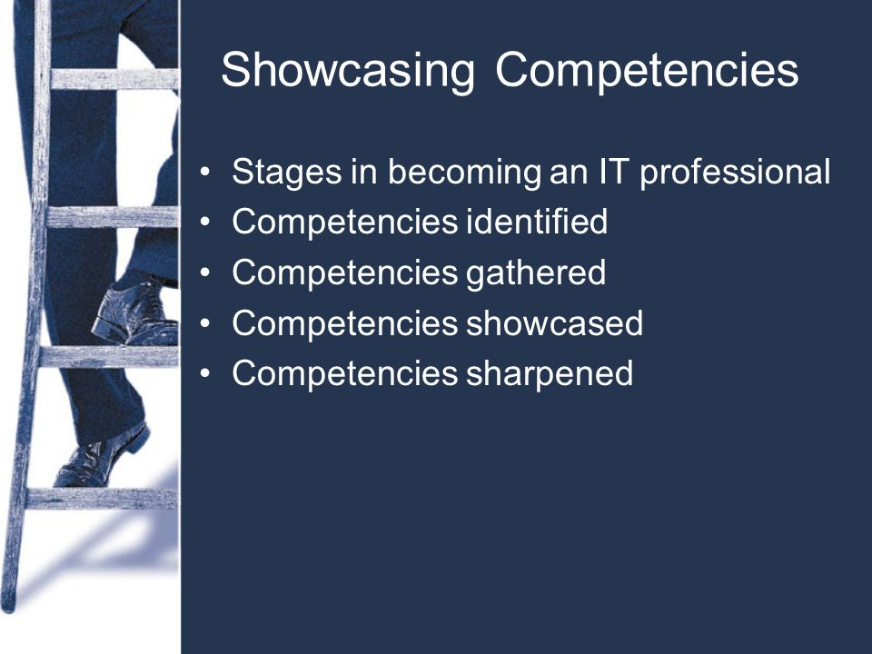 Showcasing Competencies Stages in becoming an IT professional Competencies identified Competencies gathered Competencies showcased Competencies sharpened