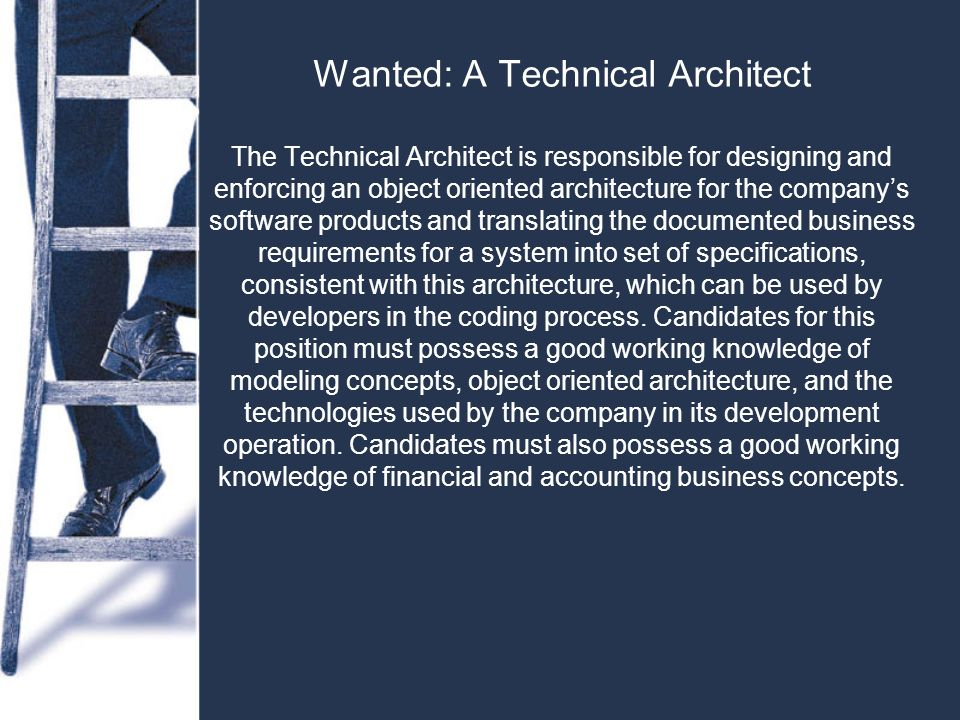 Wanted: A Technical Architect The Technical Architect is responsible for designing and enforcing an object oriented architecture for the company's software products and translating the documented business requirements for a system into set of specifications, consistent with this architecture, which can be used by developers in the coding process.