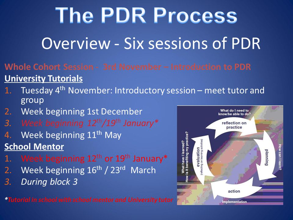 Overview - Six sessions of PDR Whole Cohort Session - 3rd November – Introduction to PDR University Tutorials 1.Tuesday 4 th November: Introductory session – meet tutor and group 2.Week beginning 1st December 3.Week beginning 12 th /19 th January* 4.Week beginning 11 th May School Mentor 1.Week beginning 12 th or 19 th January* 2.Week beginning 16 th / 23 rd March 3.During block 3 *Tutorial in school with school mentor and University tutor