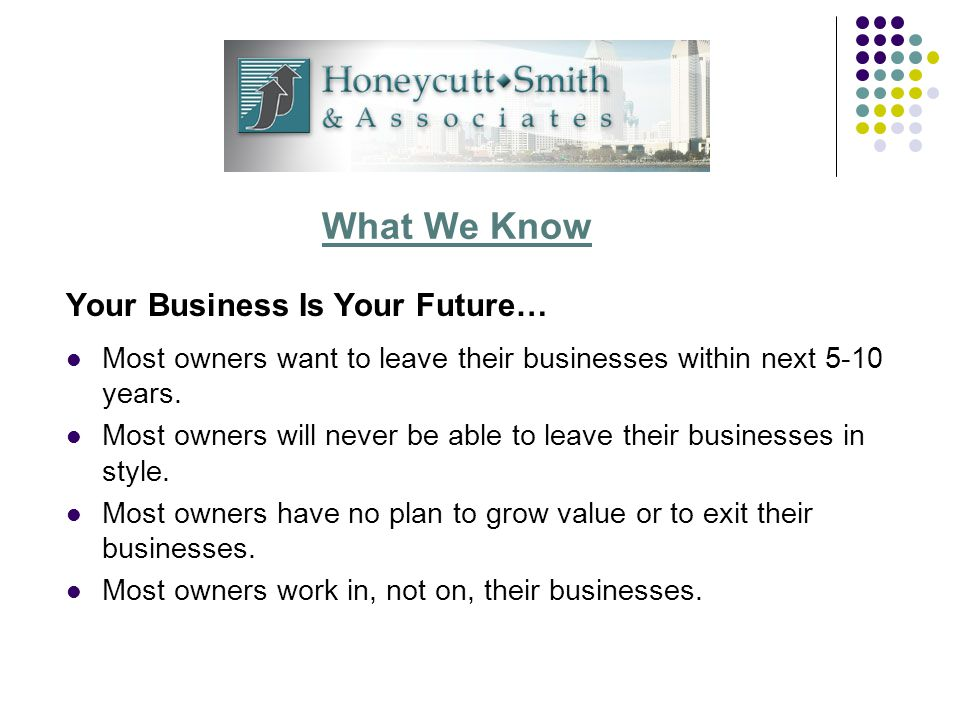 What We Know Your Business Is Your Future… Most owners want to leave their businesses within next 5-10 years.