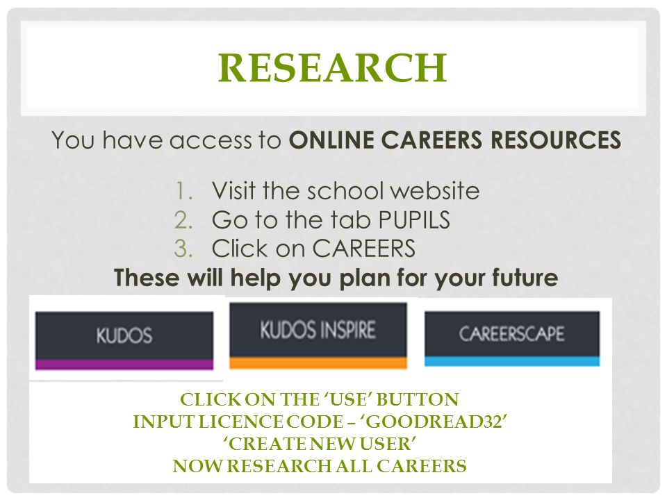 RESEARCH You have access to ONLINE CAREERS RESOURCES 1.Visit the school website 2.Go to the tab PUPILS 3.Click on CAREERS These will help you plan for your future CLICK ON THE 'USE' BUTTON INPUT LICENCE CODE – 'GOODREAD32' 'CREATE NEW USER' NOW RESEARCH ALL CAREERS