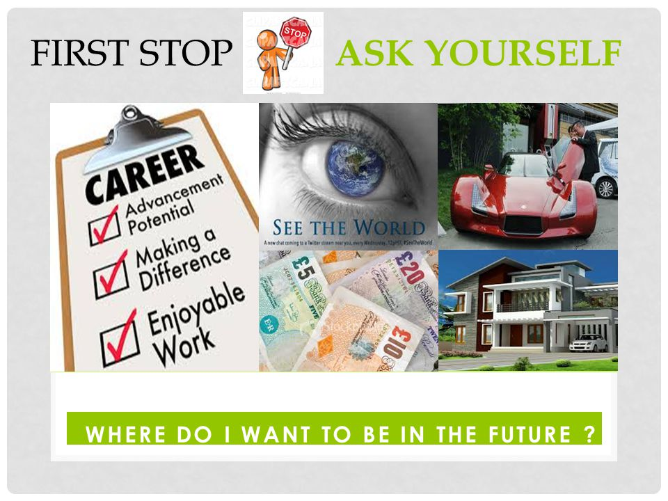 WHERE DO I WANT TO BE IN THE FUTURE FIRST STOP : ASK YOURSELF