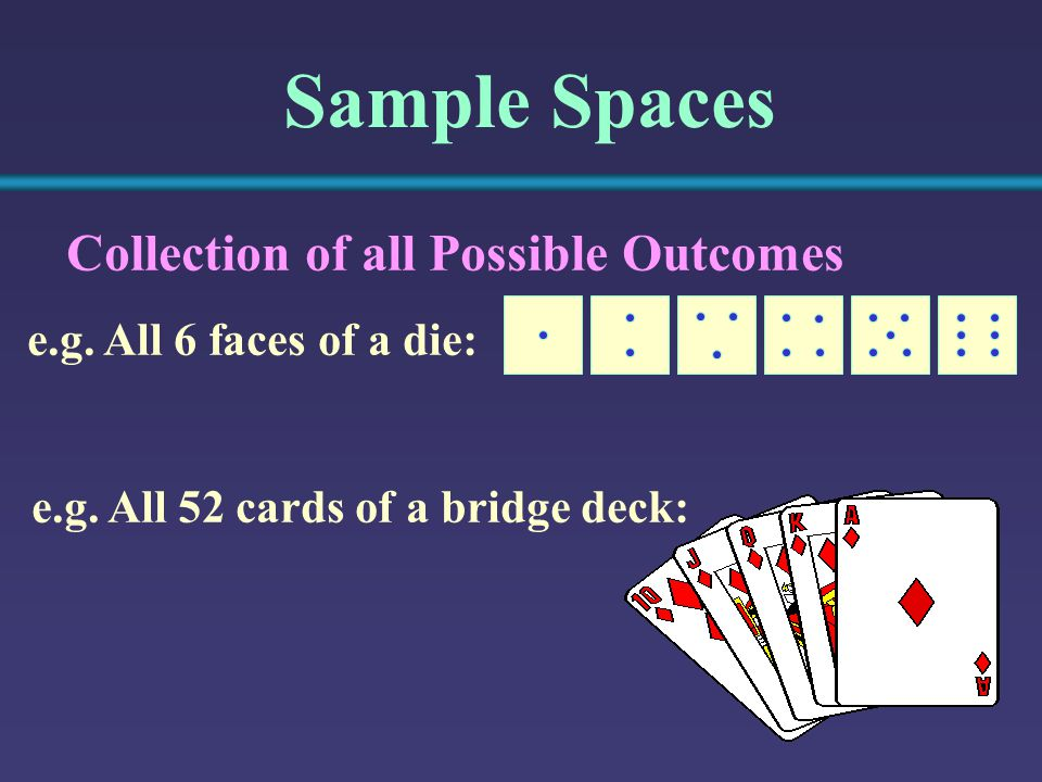 Sample Spaces Collection of all Possible Outcomes e.g.