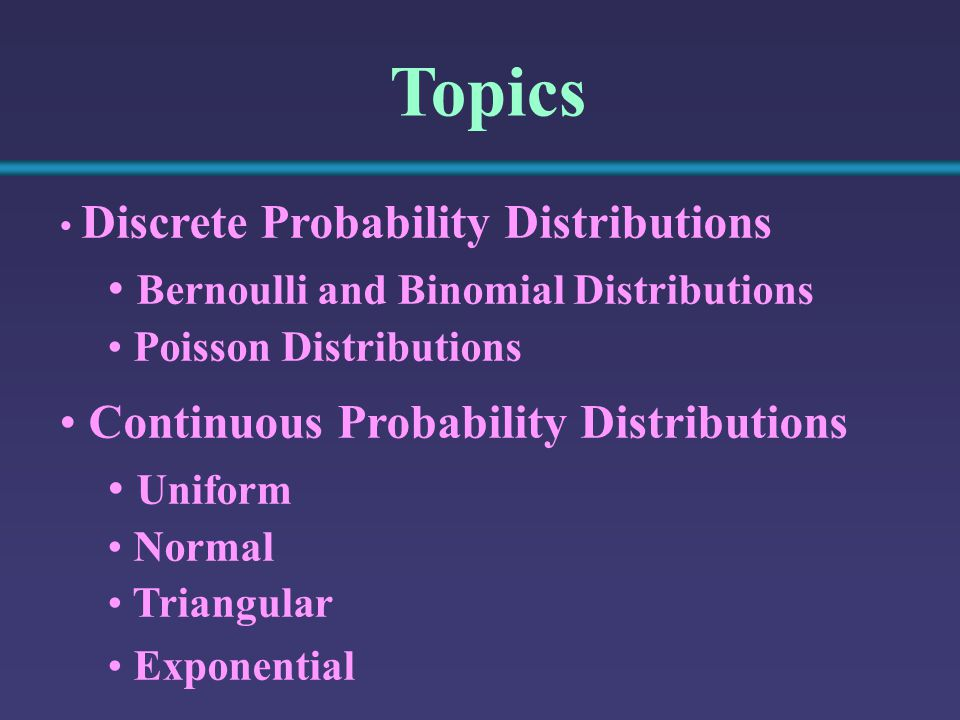 Topics Discrete Probability Distributions Bernoulli and Binomial Distributions Poisson Distributions Continuous Probability Distributions Uniform Normal Triangular Exponential