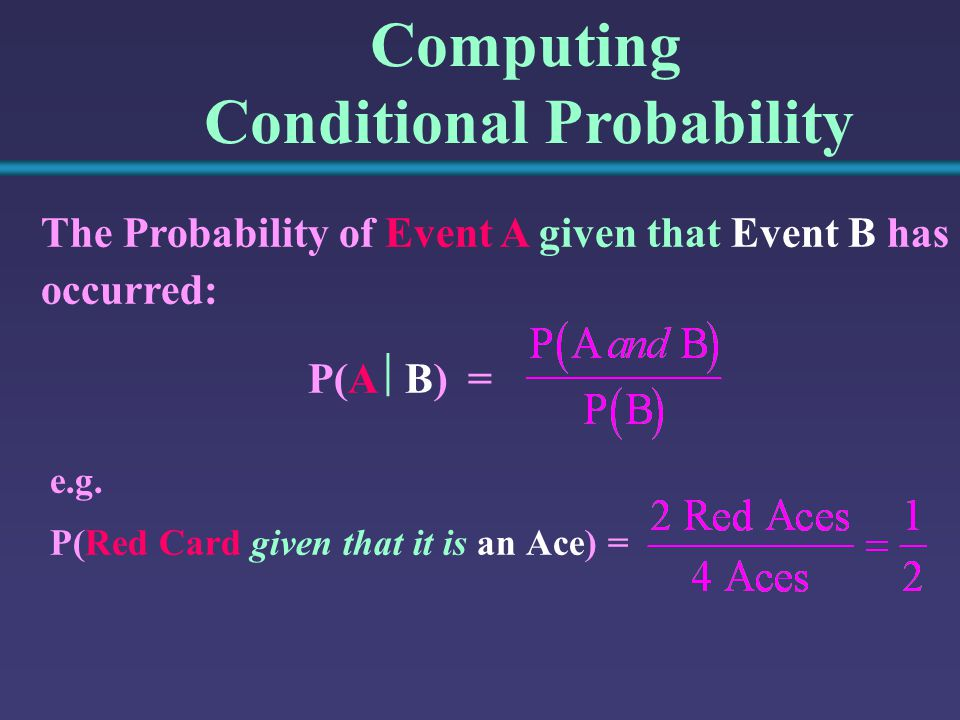 Computing Conditional Probability The Probability of Event A given that Event B has occurred: P(A  B) = e.g.