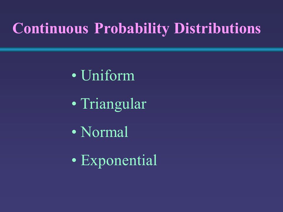 Uniform Triangular Normal Exponential Continuous Probability Distributions
