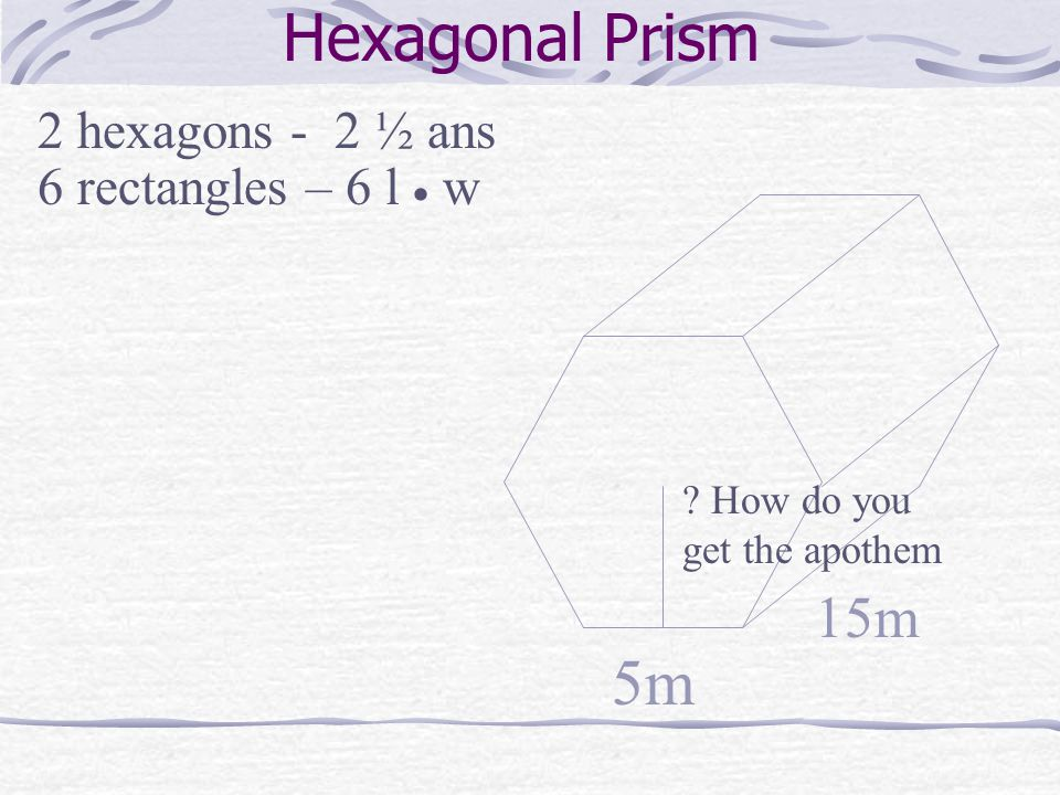 Hexagonal Prism 5m 2 hexagons - 2 ½ ans 6 rectangles – 6 l  w 15m How do you get the apothem