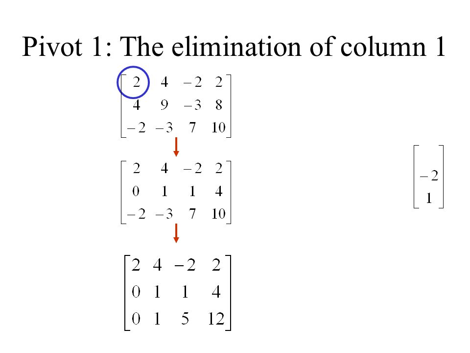 Pivot 1: The elimination of column 1