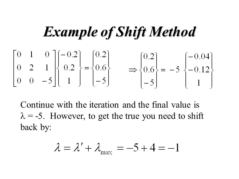 Example of Shift Method Continue with the iteration and the final value is = -5.