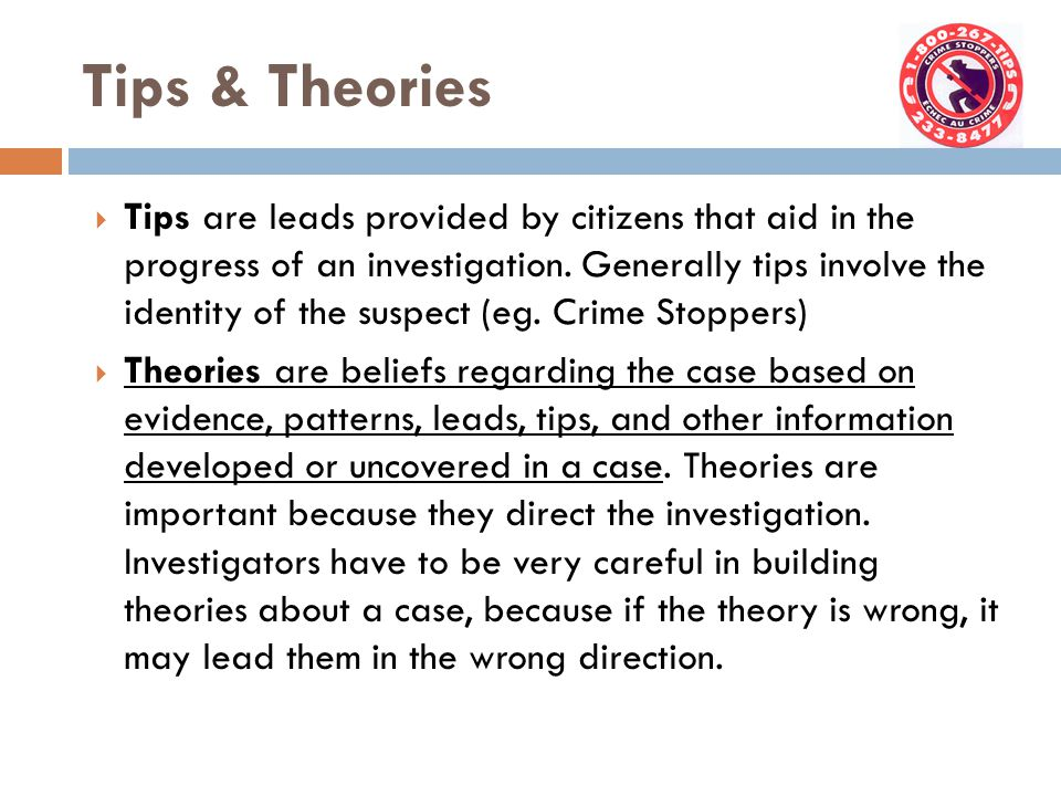 Tips & Theories  Tips are leads provided by citizens that aid in the progress of an investigation.