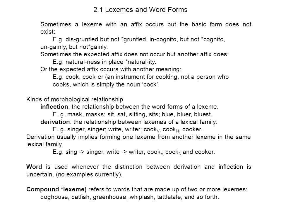 323 Morphology The Structure of Words 2. Basic Concepts (Last ...