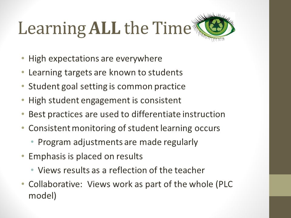 Learning ALL the Time High expectations are everywhere Learning targets are known to students Student goal setting is common practice High student engagement is consistent Best practices are used to differentiate instruction Consistent monitoring of student learning occurs Program adjustments are made regularly Emphasis is placed on results Views results as a reflection of the teacher Collaborative: Views work as part of the whole (PLC model)