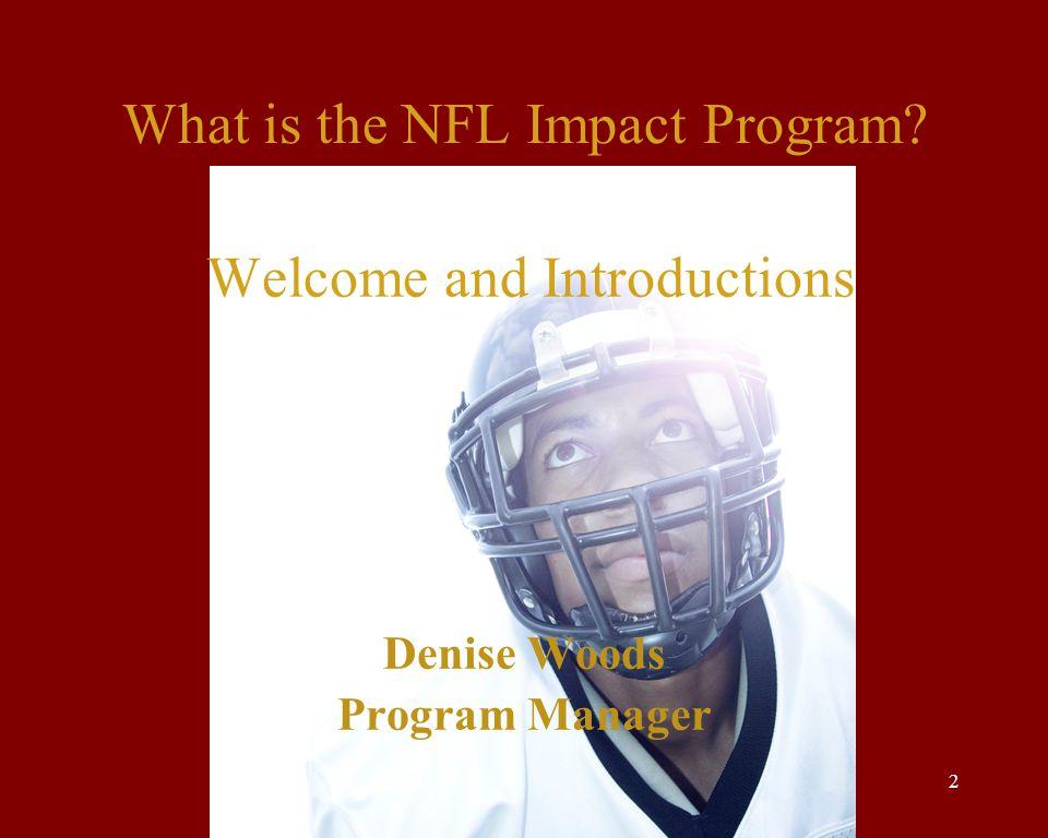 Tina Koneazny, USC Readers Plus and Kim Thomas-Barrios, USC NAI Program 2 What is the NFL Impact Program.