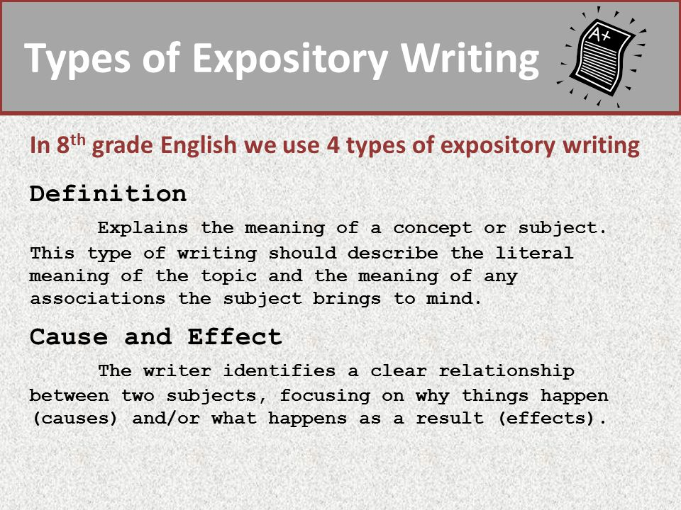 Types Of Expository Writing In 8 Th Grade English We Use 4 Types Of  Expository Writing