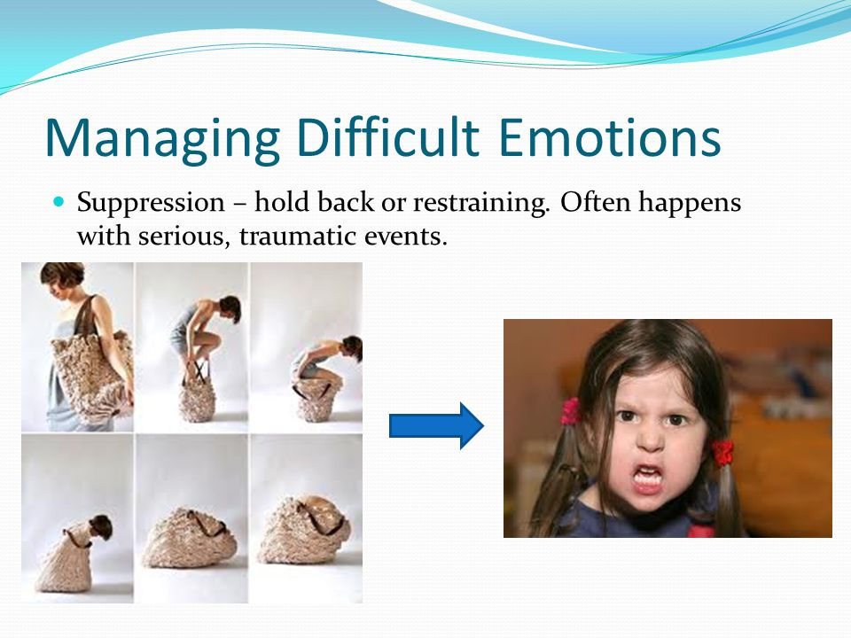 Managing Difficult Emotions Suppression – hold back or restraining.
