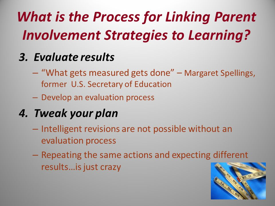 What is the Process for Linking Parent Involvement Strategies to Learning.