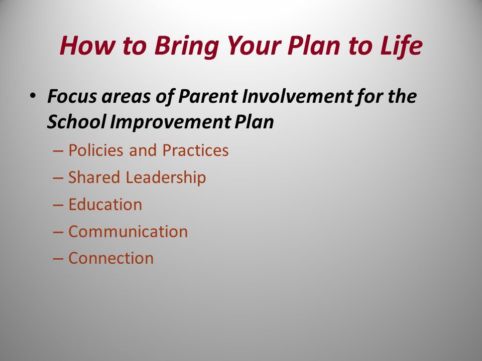 How to Bring Your Plan to Life Focus areas of Parent Involvement for the School Improvement Plan – Policies and Practices – Shared Leadership – Education – Communication – Connection