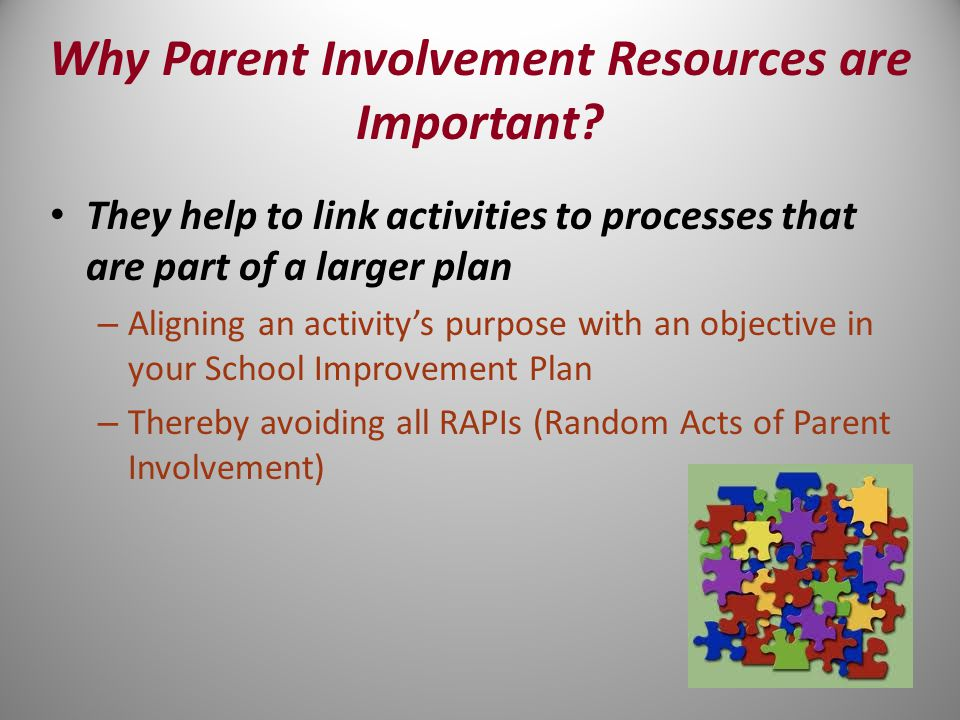 They help to link activities to processes that are part of a larger plan – Aligning an activity's purpose with an objective in your School Improvement Plan – Thereby avoiding all RAPIs (Random Acts of Parent Involvement)
