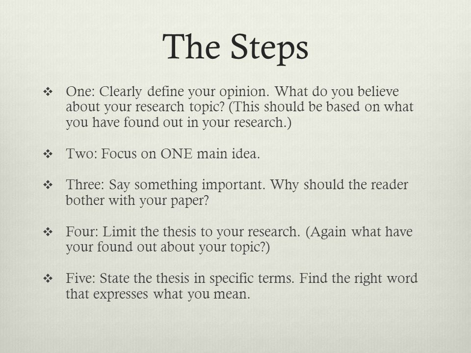 thesis statements four steps to