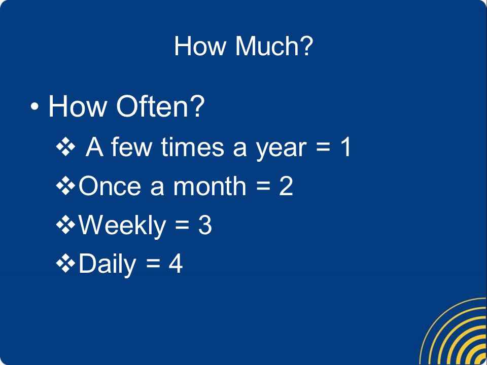 How Much How Often  A few times a year = 1  Once a month = 2  Weekly = 3  Daily = 4
