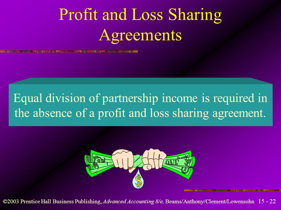 ©2003 Prentice Hall Business Publishing, Advanced Accounting 8/e, Beams/Anthony/Clement/Lowensohn Learning Objective 3 Grasp the diverse nature of profit and loss sharing agreements and their computation.