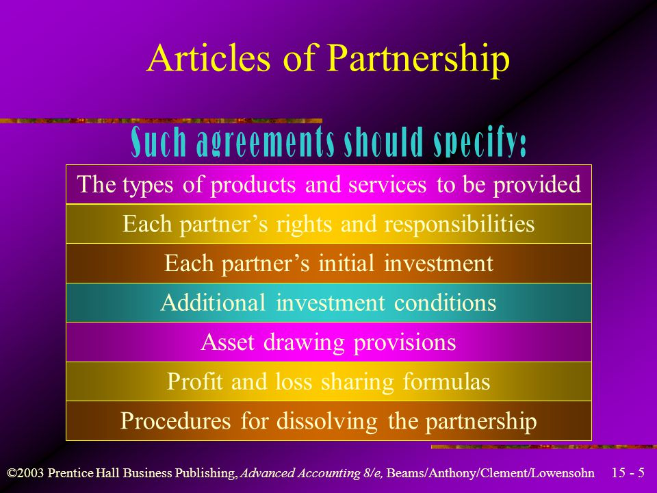 ©2003 Prentice Hall Business Publishing, Advanced Accounting 8/e, Beams/Anthony/Clement/Lowensohn Articles of Partnership A partnership may be formed by a simple oral agreement among two or more people to operate a business for profit.