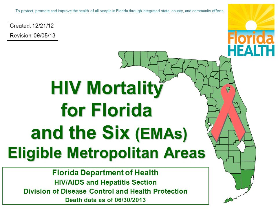HIV Mortality for Florida and the Six (EMAs) Eligible Metropolitan Areas Florida Department of Health HIV/AIDS and Hepatitis Section Division of Disease Control and Health Protection Death data as of 06/30/2013 Created: 12/21/12 Revision: 09/05/13 To protect, promote and improve the health of all people in Florida through integrated state, county, and community efforts.